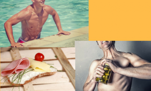 hombre fibrado de gimnasio, haciendo dieta