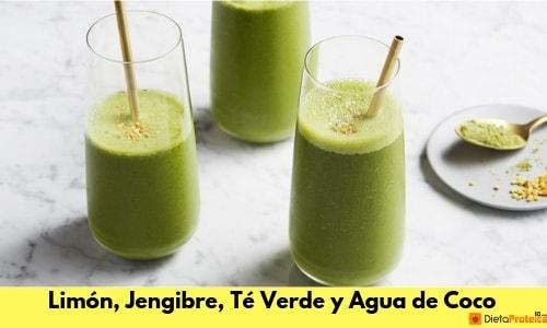 Detox de Limón, Jengibre, Té Verde y Agua de Coco